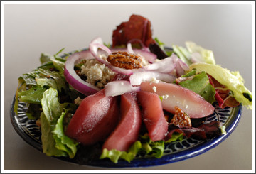 Chef Debbie Bennett Port-Poached Pear Salad